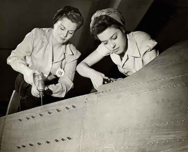 Wall Art - Photograph - Women Working On Ww II Aircraft Assembly by George Marks