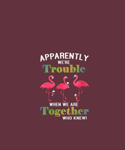 Wall Art - Digital Art - Womens Apparently We're Trouble When We Are Together Who Knew Wine  V-neck T-shirt by Unique Tees