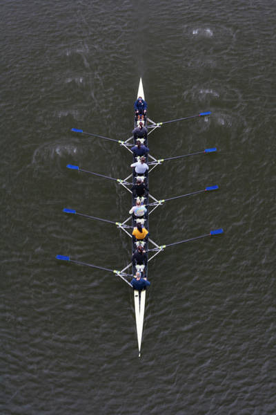 Rowing Wall Art - Photograph - Womens Crew Team Rowing On Schuylkill by Henry Lederer