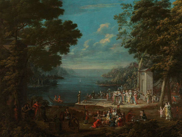 Painting - Women's Party In Hunkar Iskelesi On The Bosphorus by Jean Baptiste Vanmour