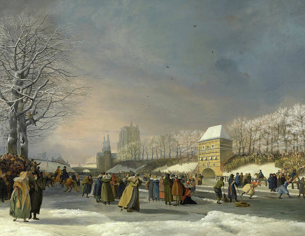 Wall Art - Painting - Womens Skating Competition On The Stadsgracht In Leeuwarden, 21 January 1809 by Nicolaas Baur