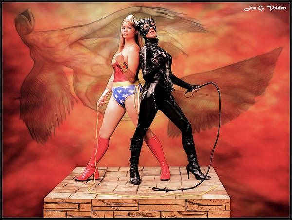 Photograph - Wonder And Cat Woman by Jon Volden