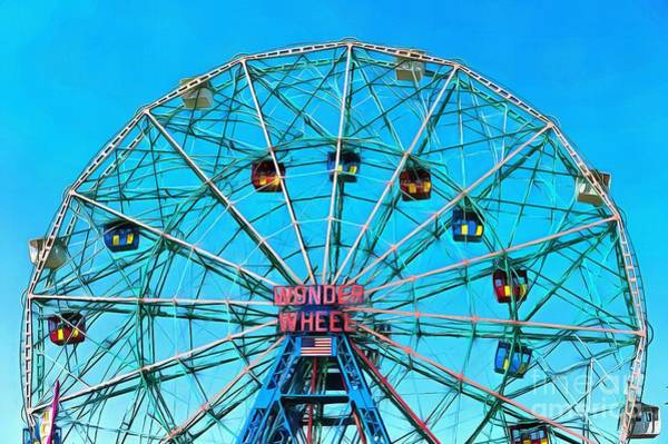 Wall Art - Digital Art - Wonder Wheel Coney Island Ny by Edward Fielding