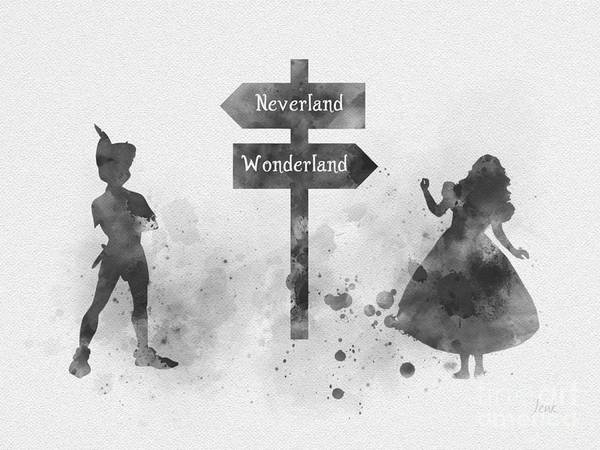 Wall Art - Mixed Media - Wonderland Or Neverland Black And White by My Inspiration