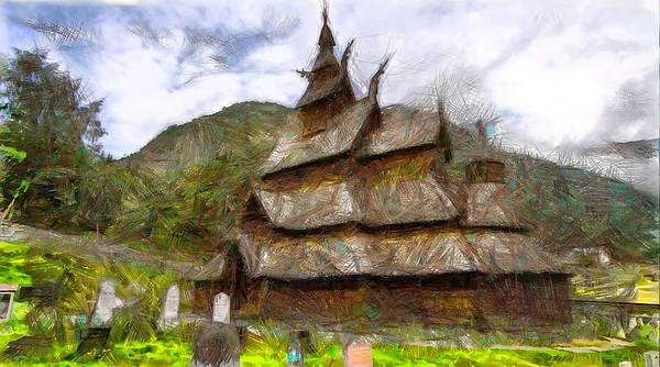 Digital Art - Wood Norway Church by Mario Carini