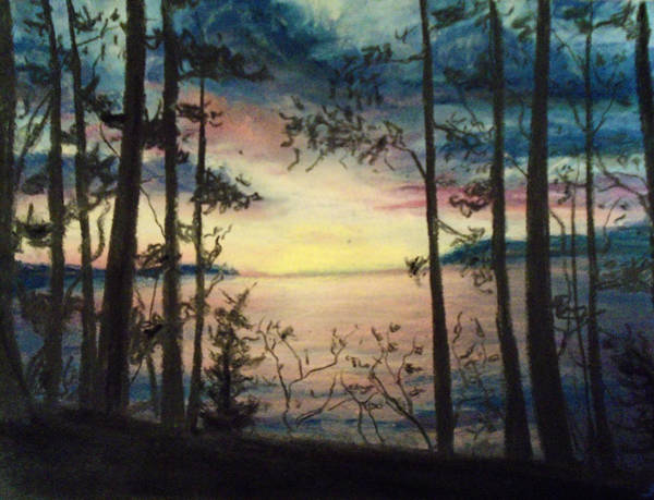 Dark Pink Drawing - Wood Rush by Jen Shearer