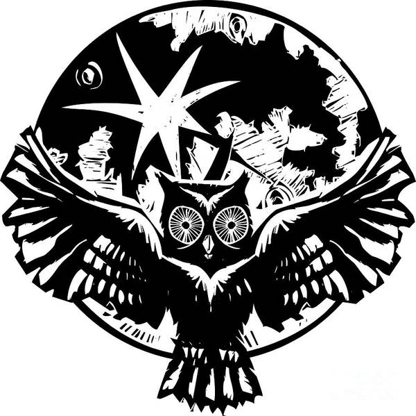 Wise Wall Art - Digital Art - Woodcut Flying Owl With Feathered Wings by Jef Thompson