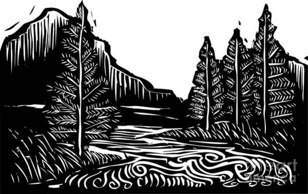 Pines Wall Art - Digital Art - Woodcut Style Expressionist Landscape by Jef Thompson