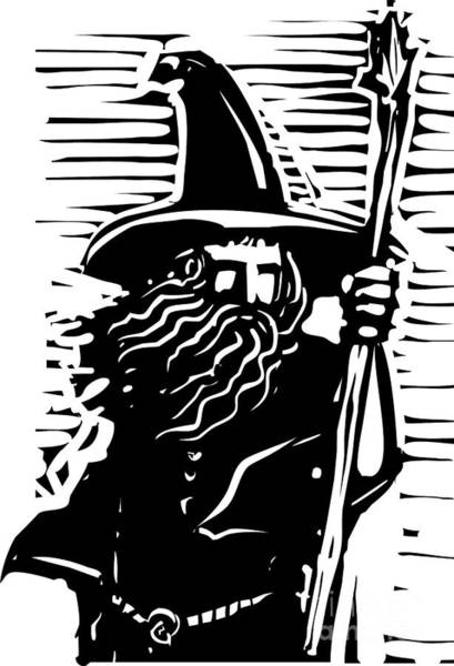 Magic Wall Art - Digital Art - Woodcut Style Image Of A Magical Wizard by Jef Thompson