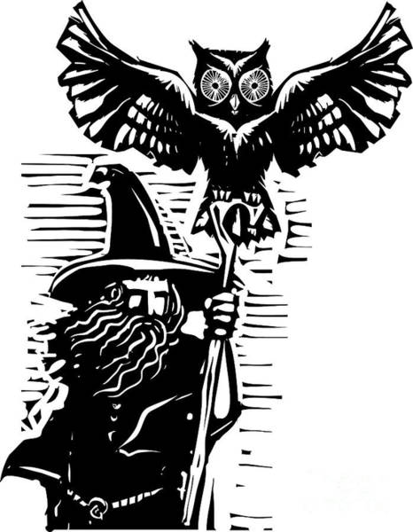 Magic Wall Art - Digital Art - Woodcut Style Image Of A Wizard Holding by Jef Thompson
