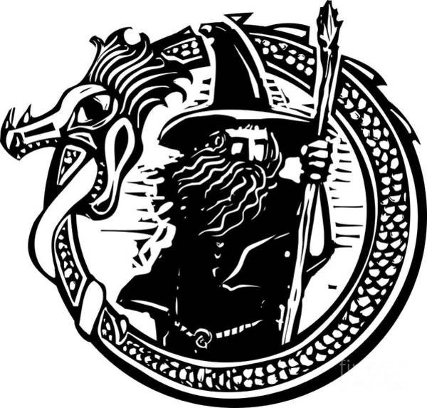Wall Art - Digital Art - Woodcut Style Image Of A Wizard In A An by Jef Thompson