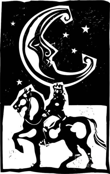 Magic Wall Art - Digital Art - Woodcut Style Moon And Mounted King On by Jef Thompson