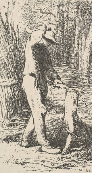 Relief - Woodcutter Making A Faggot by Jean-Francois Millet