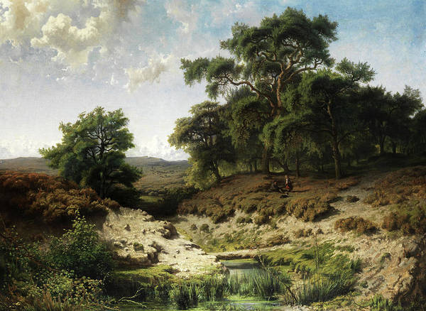 Gabriel Painting - Wooded Landscape With Watercourse And Staffage Figures by Paul Joseph Constantin Gabriel