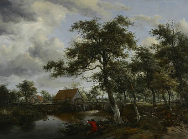 Meindert Hobbema Painting - Wooded Landscape With Watermill by Meindert Hobbema