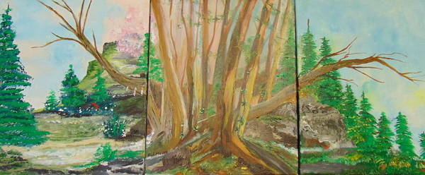 Wall Art - Painting - Wooded Triptych by Rich Mason