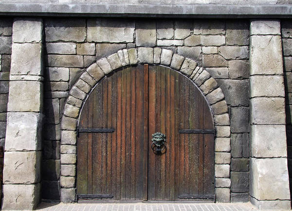 Handle Photograph - Wooden Arched Doors Surrounded By by Wibofoto