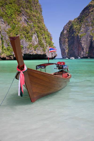 Phi Photograph - Wooden Boat, Maya Bay by Sean Caffrey