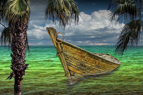 Photograph - Wooden Boat Resting In The Shallows Framed By Palm Trees by Randall Nyhof