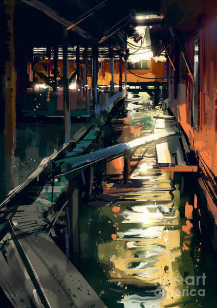 Wall Art - Digital Art - Wooden Bridge Across Canals In Fishing by Tithi Luadthong