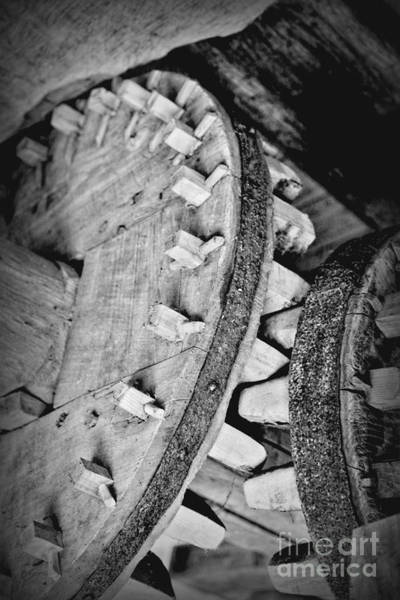 Photograph - Wooden Cogs Black And White by Carol Groenen