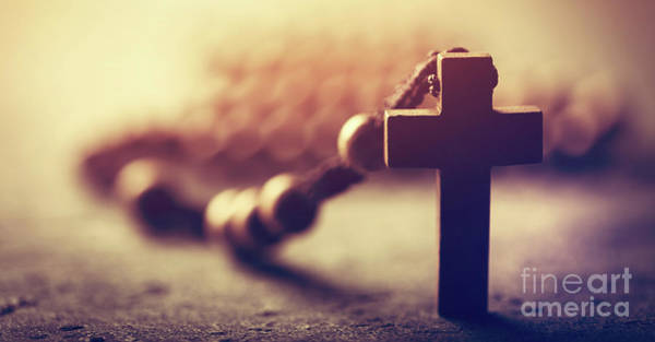 Photograph - Wooden Cross And Rosary On Stone Background. by Michal Bednarek