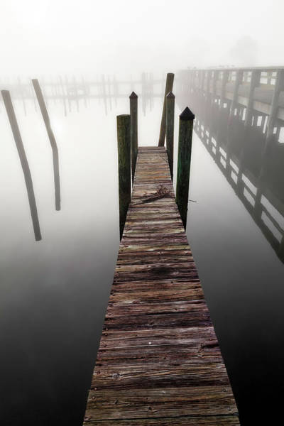 Jetty Photograph - Wooden Jetty In The Morning Fog by John Wang