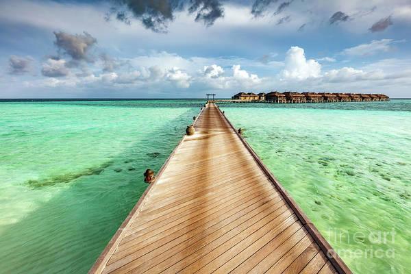 Wall Art - Photograph - Wooden Jetty On The Ocean On Maldives Islands. by Michal Bednarek