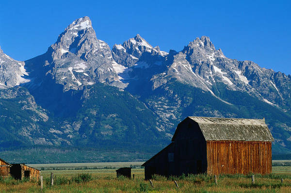 Wall Art - Photograph - Wooden Mormon Row Barn, Built In The by John Elk