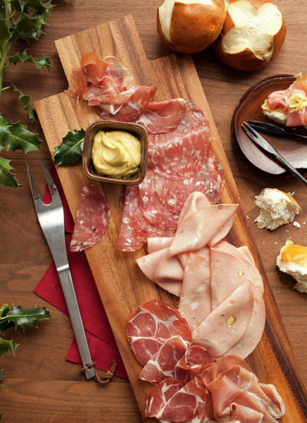 Delicatessen Photograph - Wooden Platter With Sliced Deli Meats by Lisa Romerein