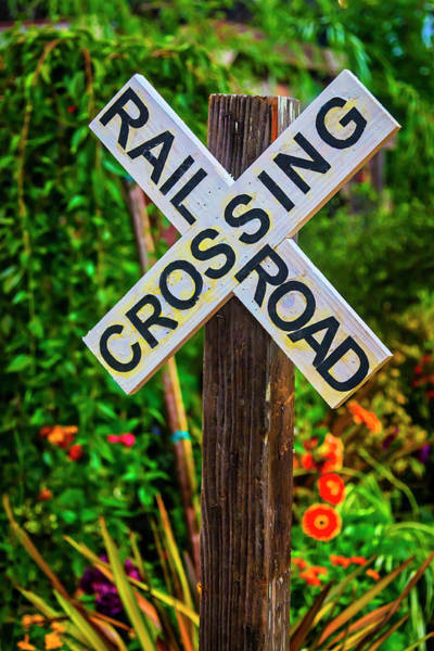 Wall Art - Photograph - Wooden Railroad Crossing Sign by Garry Gay