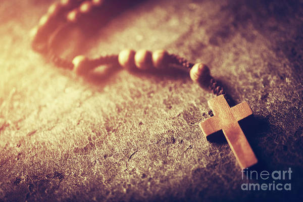 Photograph - Wooden Rosary With Cross On Stone Background. by Michal Bednarek