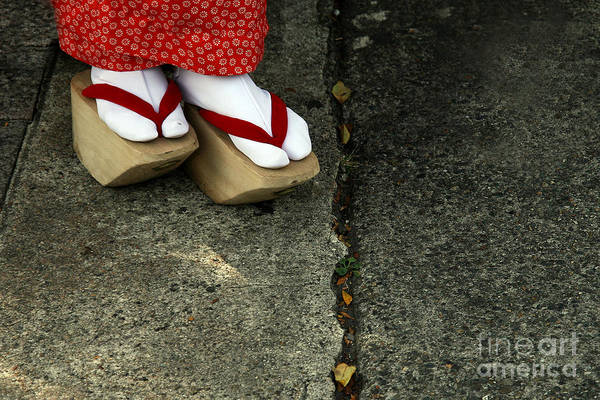 Wall Art - Photograph - Wooden Shoes Of Japanese Geisha by Mark Caunt