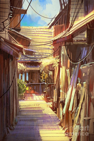 Wall Art - Digital Art - Wooden Village Pathway,illustration by Tithi Luadthong