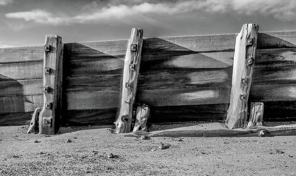 Waterbreak Wall Art - Photograph - Wooden, Weathered Sea Groyne And Metal Bolts, Gnarled Planks Of  by Gill Copeland