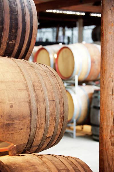 Compartments Photograph - Wooden Wine Barrels by Davidf