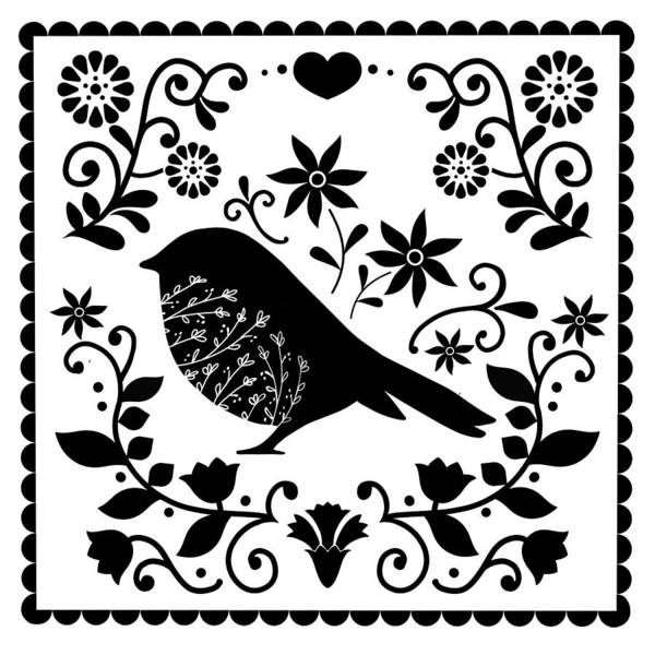 Dutch Tulip Painting - Woodland Folk Black And White Blue Bird Tile by Little Bunny Sunshine