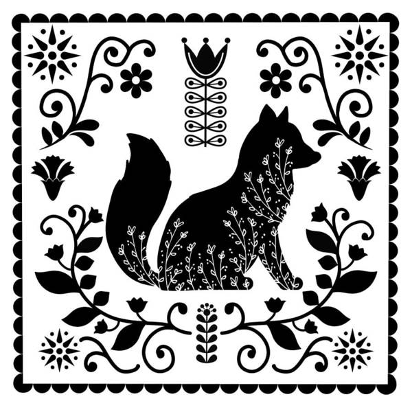 Dutch Tulip Painting - Woodland Folk Black And White Fox Tile by Little Bunny Sunshine