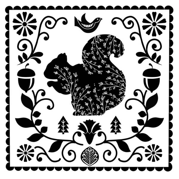 Dutch Tulip Painting - Woodland Folk Black And White Squirrel Tile by Little Bunny Sunshine