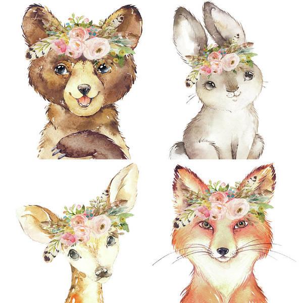 Woodland Digital Art - Woodland Tribal Animals Feather Boho by Pink Forest Cafe