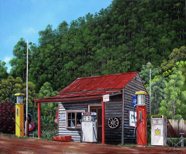 Wall Art - Painting - Woods Point Historic Service Station, Victoria, Australia by Debra Dickson