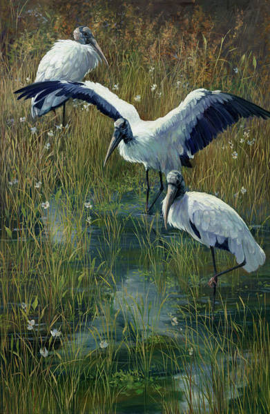 Stork Painting - Woodstorks Breakfast Club by Laurie Snow Hein
