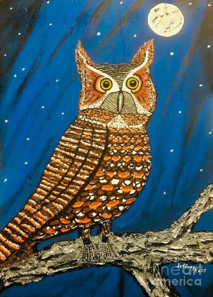 Wall Art - Mixed Media -  Woody The Great Horned Owl by Jeffrey Koss