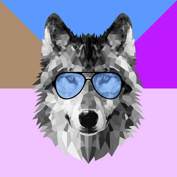 Bobcat Wall Art - Digital Art - Woolf In Blue Glasses by Naxart Studio