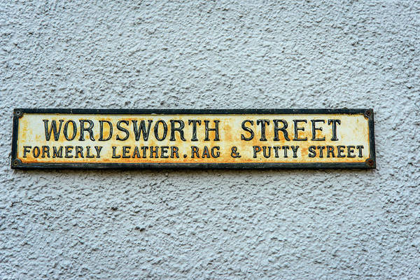 Street Sign Photograph - Wordsworth Street Sign by David Ridley
