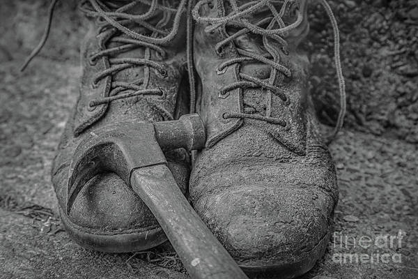 Wall Art - Digital Art - Work Boots And Hammer Black And White by Randy Steele