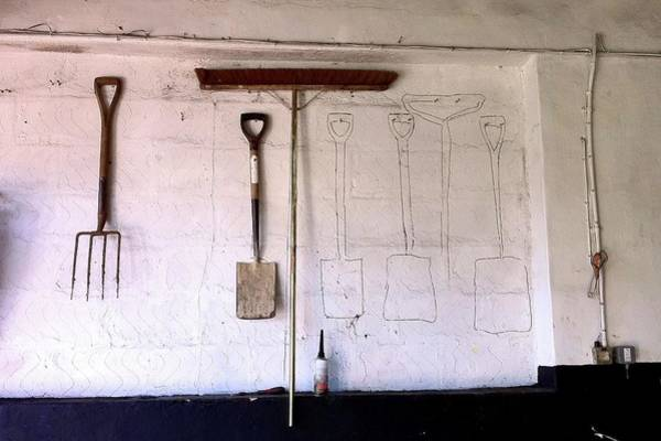 Workshop Photograph - Work Tools On A Wall With Some Missing by Nigel Goodman (flickr-nigel@hornchurch)