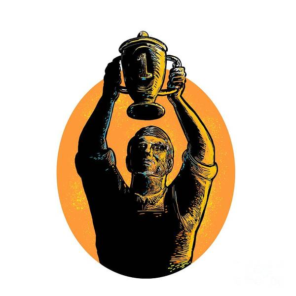 Wall Art - Digital Art - Worker Raising Up Championship Trophy Woodcut by Aloysius Patrimonio