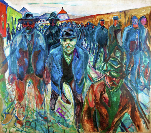 Wall Art - Painting - Workers On Their Way Home - Digital Remastered Edition by Edvard Munch