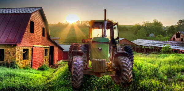 Wall Art - Photograph - Working John Deere In The Morning Sunshine by Debra and Dave Vanderlaan